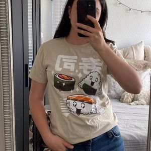 Cute sushi graphic tee - flaws shown